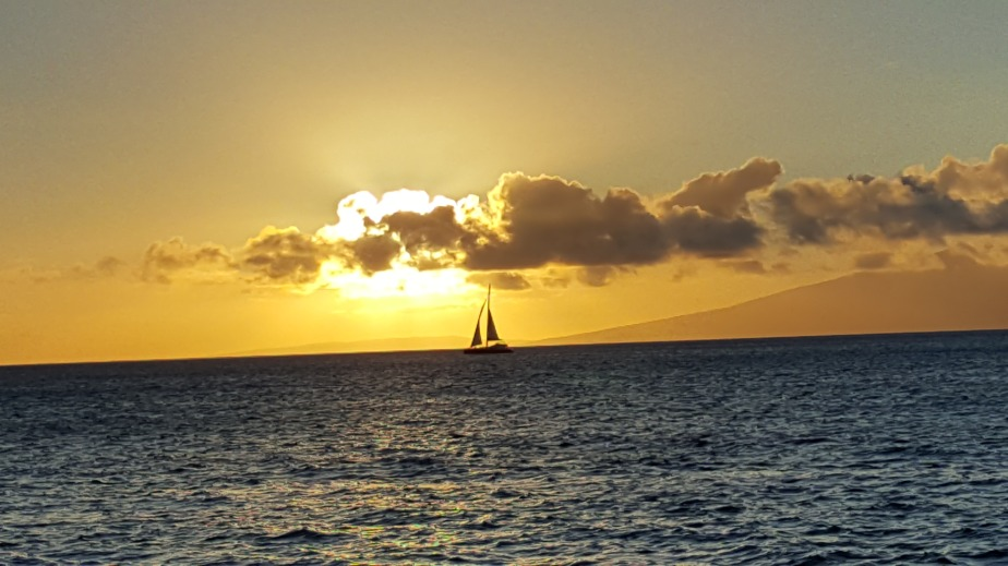 Maui Sunset with Sailboat
